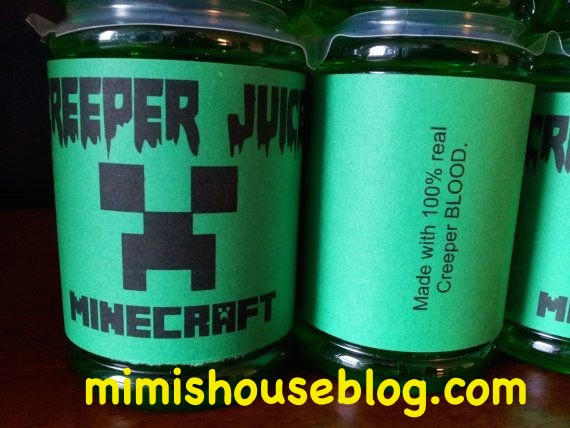halloween minecraft drinks labels 2014 - creeper juice party-f04965